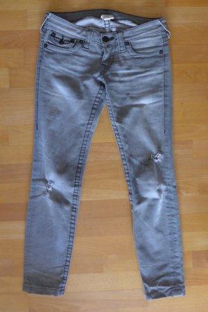True Religion Jeans schmal Röhre Skinny Section Julie grau destroyed Gr. 26 S