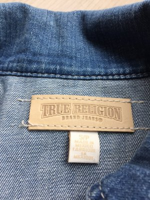 True Religion Gilet en jean bleu azur
