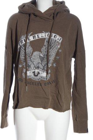 True Religion Sudadera con capucha marrón-gris claro estampado temático