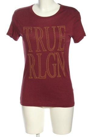 True Religion Kurzarm-Bluse braun-hellorange Schriftzug gedruckt Casual-Look