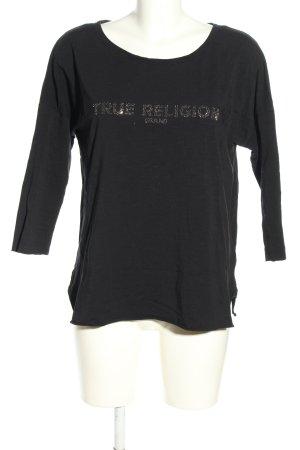 True Religion Longsleeve schwarz Schriftzug gedruckt Casual-Look