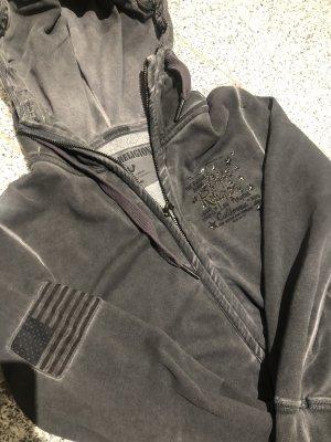 True Religion Jersey con capucha gris antracita