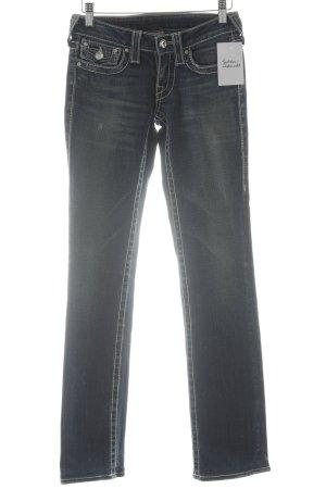True Religion Skinny Jeans dunkelblau-graugrün Jeans-Optik