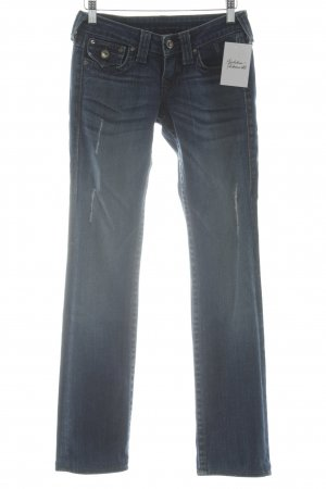 True Religion Skinny Jeans dunkelblau-weiß Jeans-Optik