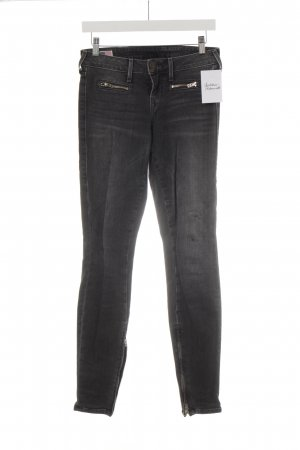 True Religion Skinny Jeans dunkelgrau Logo-Applikation aus Leder
