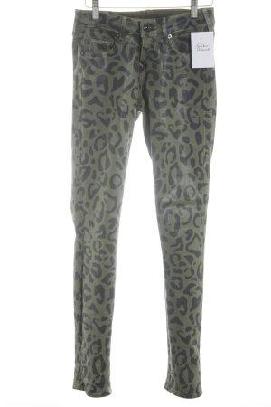 True Religion Skinny Jeans khaki-schwarz Animalmuster Casual-Look