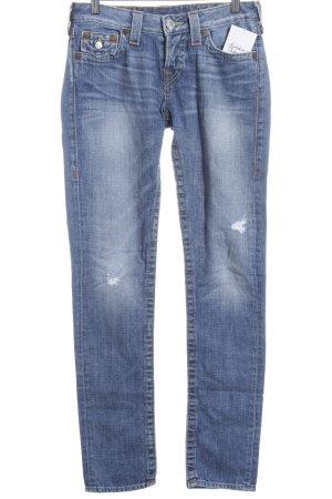 True Religion Slim Jeans blau Logo-Applikation
