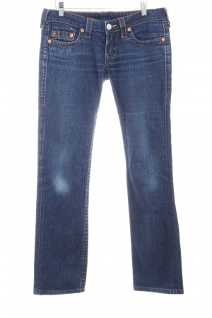 True Religion Slim Jeans dunkelblau-neonorange