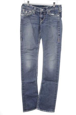 True Religion Slim Jeans stahlblau-himmelblau Street-Fashion-Look