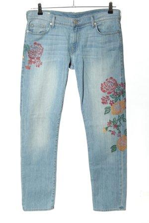 True Religion Straight Leg Jeans blue flower pattern casual look