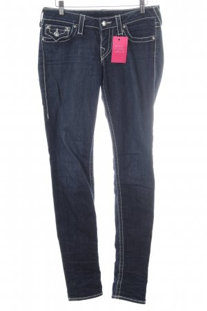 True Religion Straight-Leg Jeans dunkelblau Zierknöpfe