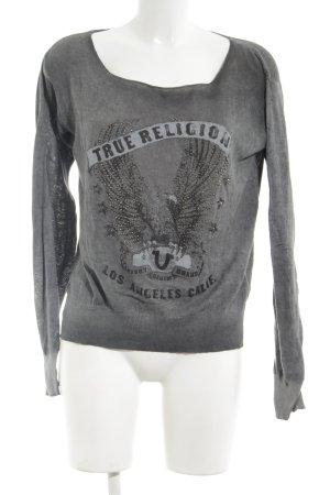 True Religion Strickpullover hellgrau-schwarz Motivdruck Casual-Look