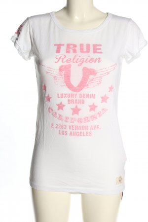 True Religion T-shirt biały-różowy Wydrukowane logo W stylu casual