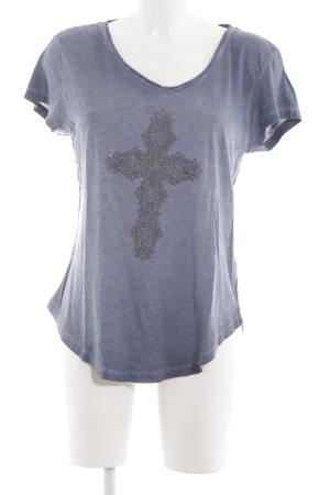 True Religion T-Shirt blau meliert Casual-Look