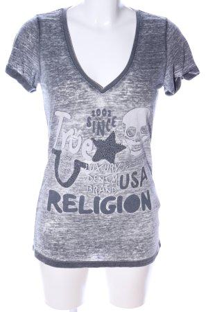True Religion T-Shirt hellgrau meliert Casual-Look