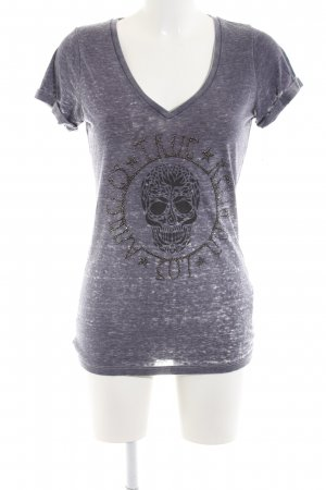 True Religion T-Shirt hellgrau-schwarz meliert Casual-Look