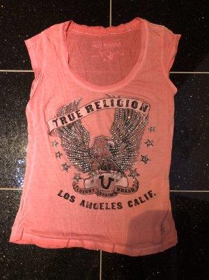 True Religion T-Shirt Rose Strass Gr. XS