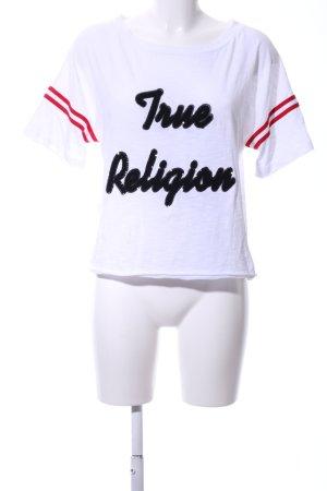 True Religion T-Shirt weiß Schriftzug gedruckt Casual-Look