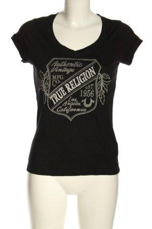 True Religion Camisa con cuello V negro-blanco puro letras impresas look casual