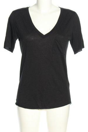 True Religion V-Ausschnitt-Shirt schwarz Casual-Look