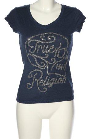True Religion T-Shirt blau-silberfarben Schriftzug gedruckt Casual-Look
