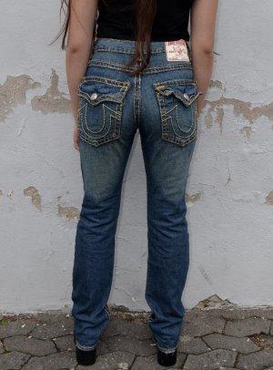 True Religion Workowate jeansy ciemnoniebieski-żółty