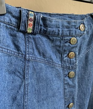 Vintage Jupe taille haute multicolore coton