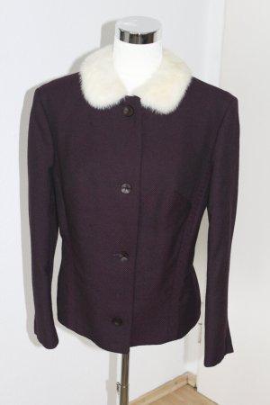 Futrzana kurtka bordo-w kolorze białej wełny Tkanina z mieszanych włókien