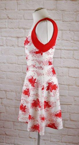 True Vintage 50er Minikleid Tanzkleid Größe S 36 Rot Weiß Blumen Rosen Muster Rockabilly Kleid