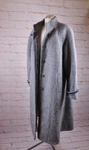 True Vintage 80er 90er langer Mantel Größe XL 44 46 Fischgrät Grau Weiß Wolle Stehkragen Raglan Grunge Wollmantel Übergangsmantel Tweed