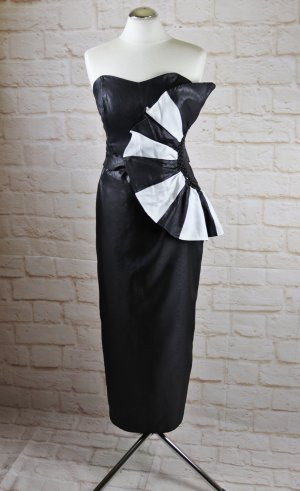 True Vintage 80er Abendkleid Cocktailkleid Maxikleid Ronnetta Größe 40 Schwarz Weiß Corsage Taft Festlich