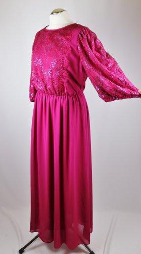 True Vintage 80er Abendkleid Maxikleid Höpfner modell Größe XL 42 44 Fuchsia Pink Spitze  Glitzer Krepp Chiffon Langes Kleid Charlston