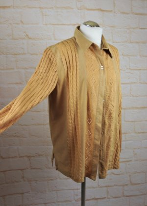 True Vintage 80er Hemdbluse Strickjacke Damenbluse Größe 40 Materialmix Strick Velours Westernbluse Netzbluse Zopfmuster