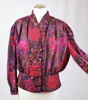 True Vintage 80er Jahre Bluse Kurzbluse Größe 42 L Blumen Chiffon Print Schwarz Lila Rot Violett Bund Schößchen Rüschen Schalkragen Doppelreiher