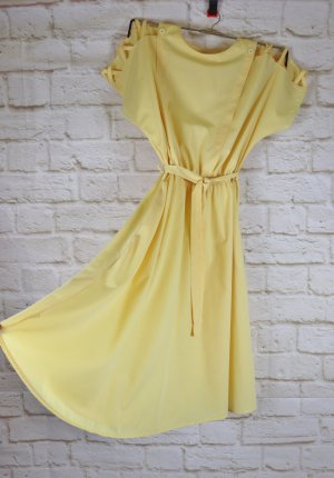 True Vintage 80er Maxikleid C&A Größe 42 44 Cut Out Kleid Gelb Pastell Hellgelb Kasten Midikleid Sommerkleid