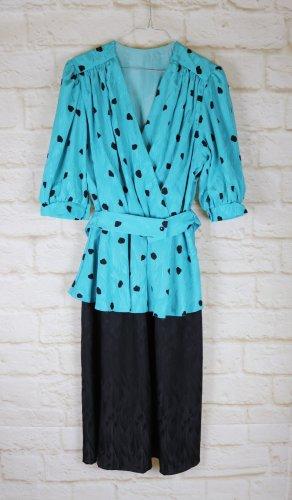 Vintage Sukienka z baskinką Wielokolorowy Poliester
