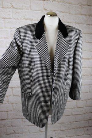 True Vintage 80er Oversize Blazer Größe 42 Schwarz Weiß Hahnentritt Muster Jacke Samt Kragen Blogger
