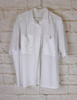 True Vintage 80er Oversize Bluse Größe 42 XL Weiß Taschen Hemdbluse Kurzarm Kurzbluse