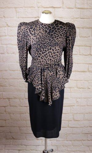 True Vintage 80er Power Dress  Yessica C&A 34 XS 17 Schößchenkleid Midikleid Leopard Schwarz Braun Schulter Schößchen Kleid