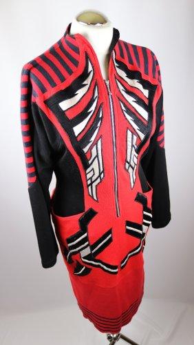 True Vintage 80er Powerdress Kleid Hella Rotthoff Größe M 38 Schwarz Rot Weiß Avantgarde Strick Applikation Designer Kostüm Stehkragen Winterkleid