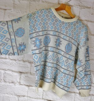 Vintage Pull norvégien multicolore tissu mixte