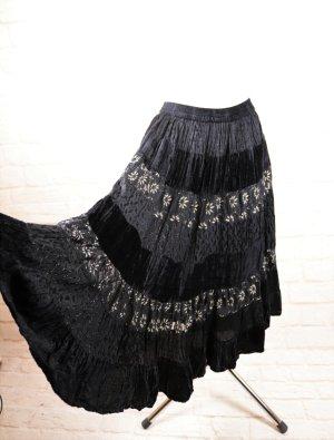 Vintage Broomstick Skirt black-beige viscose