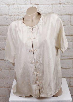 True Vintage 80er Seidenbluse Bluse Größe L 40 42 Creme Beige Nude Oversize Kastenbluse doppelte Knopfleiste Reine Seide