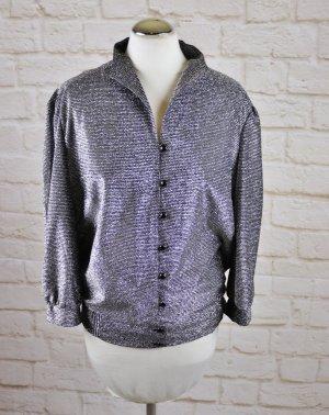 True Vintage 80er Super Glitzer Disco Bluse Jacke Größe 44 XL Silberfarben Schwarz Grau Kurzbluse Kurz