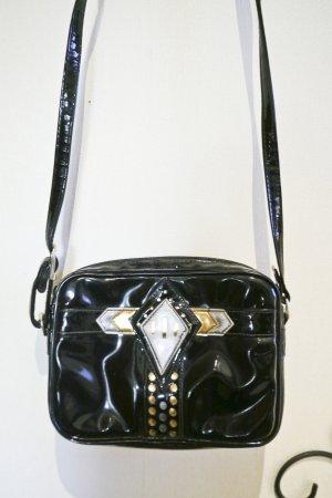 True Vintage 90er Kleine Umhängetasche Handtasche Schwarz Gold Kunstleder Lackleder
