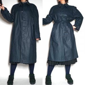 cerruti 1881 Heavy Raincoat dark blue-blue cotton