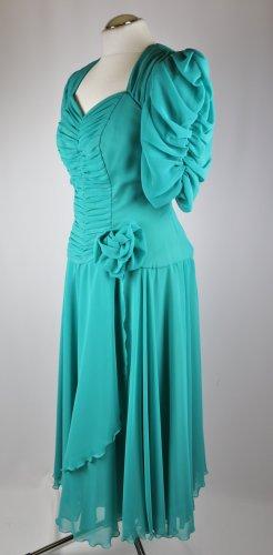 True Vintage Abendkleid Chiffon Traum Kleid Annegrete Exclusiv Größe M 38 Cut Out Grün Mintgrün Raffung Maxikleid  Rüschen Romantik Ballkleid 80er