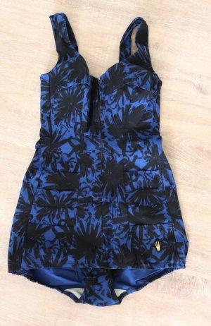 True Vintage Badeanzug Badezeug Triumph Größe XS 34 36 Swimsuit Schwarz Blau Cups Corsage Reißverschluss 50er Blumen Palmen