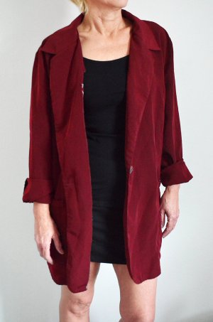 True Vintage Blazer Bordeaux Cardigan Mantel Trenchcoat Oversized Onesize