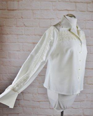 True Vintage Bluse Spitzenbluse Größe 40 42 Cremeweiß Spitze Dacron Kurzbluse Spitzeneinsatz